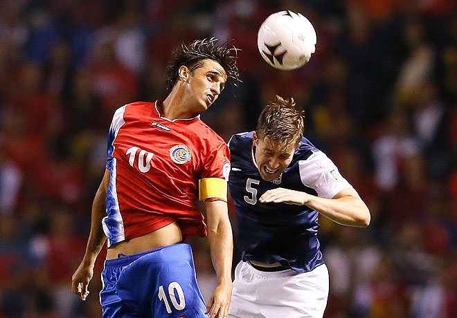 Matt Besler (right) was victimized on Costa Rica's third and final goal against the United States.