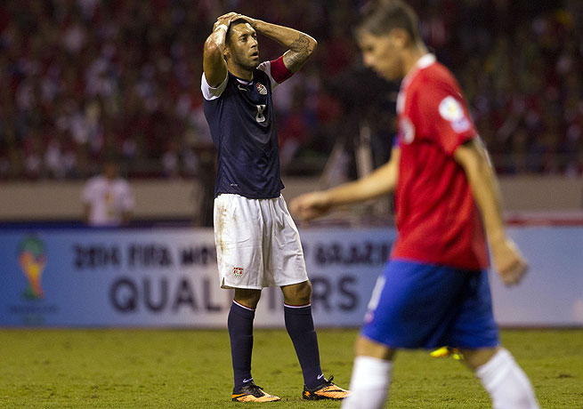 Clint Dempsey (left) scored in the first half but could not lift the U.S. to a win against Costa Rica.