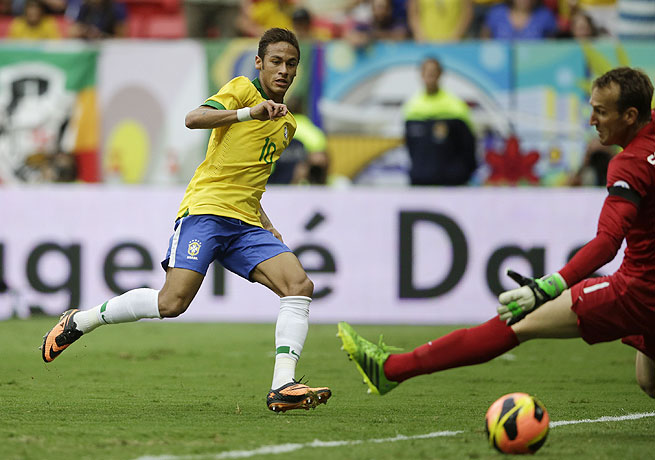 Neymar (left) scored Brazil's third goal in the 35th minute against an overmatched Australian side.