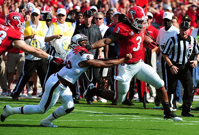 Georgia tailback Todd Gurley carried 30 times for 134 yards and a score in a win over South Carolina.