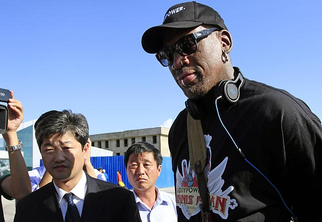 Quickly becoming one of the great statesmen of our time, the colorful NBA star returned to North Korea to hang out with his good buddy, the authoritarian leader Kim Jong Un, and have a good time. (After all, North Korea is synonymous with good times.) Rodman later announced that he'll be training the country's hoops team for the 2016 Olympics.