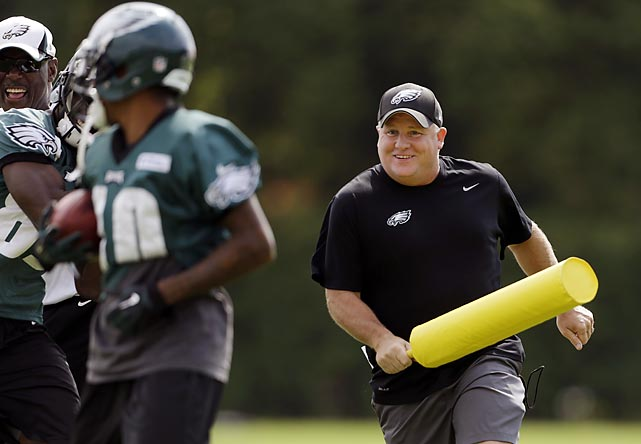 The Eagles' rookie coach demonstrates one of his favorite and most effective motivational techniques on recalcitrant wideout DeSean Jackson during a practice at the team's training facility in Philadelphia, where it's always sunny.