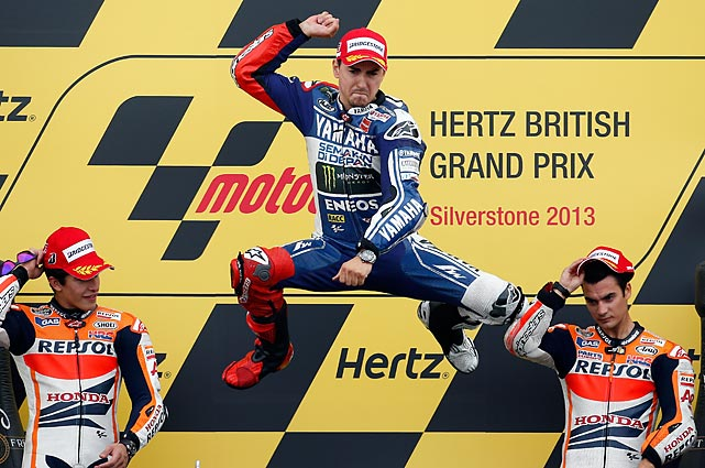 To the consternation of Senor Marquez and Senor Pedrosa, Leapin' Lorenzo got the jump on his competition and won the MotoGP race of the British Grand Prix at Silverstone, England by less than one tenth of a second.