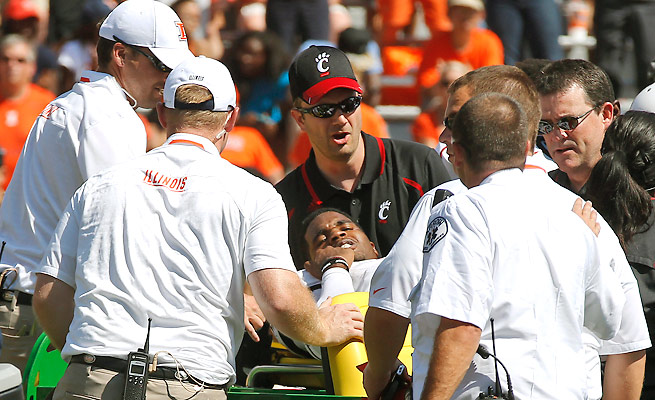 Munchie Legaux left Saturday's loss to Illinois on a stretcher after his knee bent awkwardly on a hit.