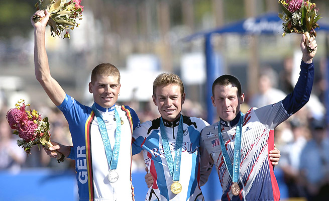 Lance Armstrong (right) won a bronze medal at the 2000 Sydney Olympics but was stripped of it.