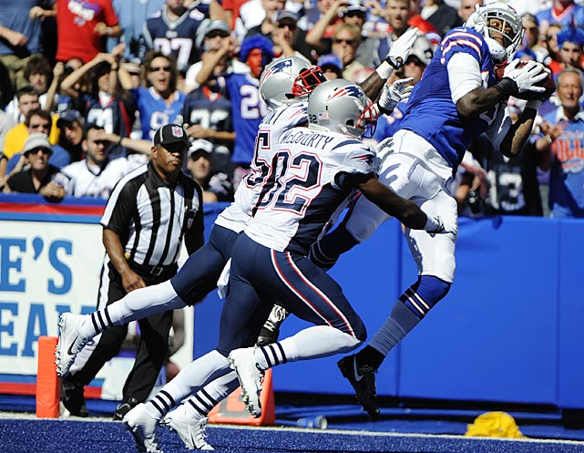 The officials ruled that Steve Johnson got both feet down before sliding out of the end zone for this touchdown against the Patriots. <bold>Watch this: Boldin and Pryor NFL's biggest Week 1 surprises.</bold>