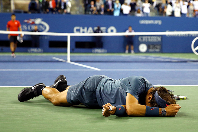 Rafael Nadal celebrates after beating Novak Djokovic to win his second U.S. Open title.