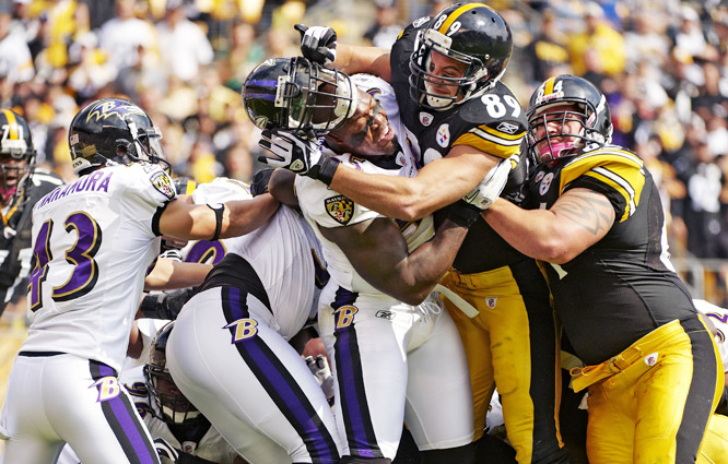"Defensive battles define this AFC North rivalry. The Ravens and Steelers have met 12 times since 2008 (twice in the postseason) and the intensity and vitriol never waiver. ""You know, when we go down to Heinz Field and you see the towels,"" Baltimore's Terrell Suggs said, ""and you see the colors, you know you're in a fight."""