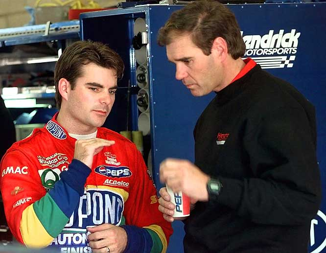 In 1995, NASCAR soaked Gordon's crew chief Ray Evernham a then-record $60,000 for using suspension parts that weren't kosher. In 2007, points leader Gordon got hit again, this time for an illegal fender that cost him crew chief Steve Letarte (fined $100,000 and suspended for six races), 100 owner points and the ability to practice or qualify for a race at Infineon Raceway.