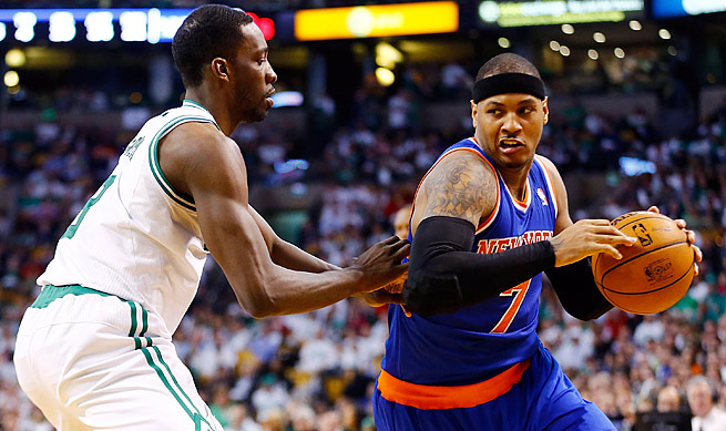 Carmelo Anthony (right) can opt out of his contract and become a free agent after the 2013-14 season.