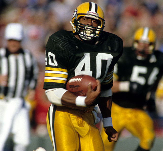 The Rams started the strike-shortened 1982 season with 23 first-half points. The Packers answered with 35 straight points in the second half. Eddie Lee Ivery (pictured) and Paul Coffman scored two touchdowns each, and Green Bay went on to a 5-3-1 record in the nine-game season.