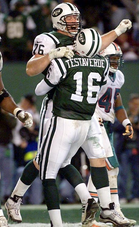 "New York trailed by 23 points heading into the fourth quarter, but quarterback Vinny Testaverde caught fire. He threw for 235 yards and four touchdowns in the last period. The tying touchdown pass went to offensive lineman Jumbo Elliot (the only catch of his career). A decade after the ""Monday Night Miracle,"" Testaverde said, ""I get goose bumps just thinking about (the game)."""