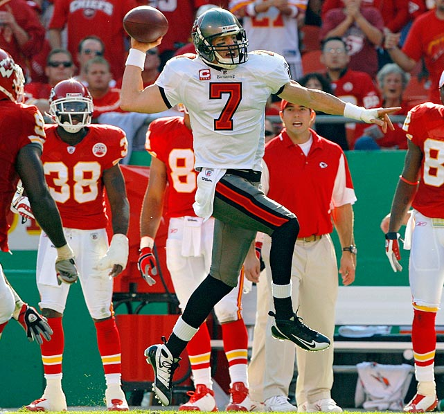 The Buccaneers sent the game to overtime after Jeff Garcia threw a touchdown and completed a two-point conversion. But Tampa Bay may not have won without a fortuitous penalty. Bucs kicker Matt Bryant missed a field goal, but a false start on lineman Jeremy Trueblood gave Tampa Bay another chance. Garcia completed a pass, and Bryant drilled the shorter second attempt.