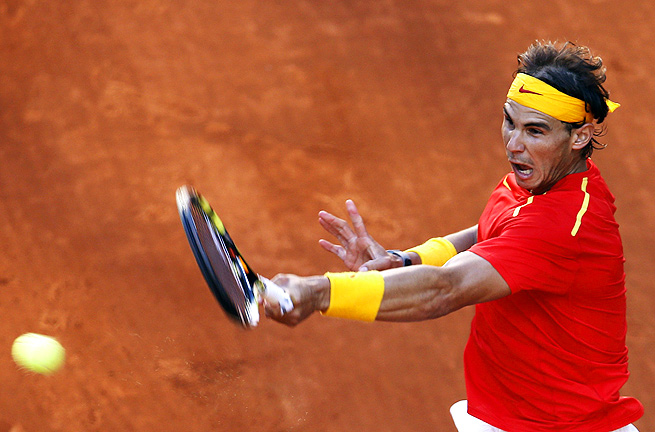 Rafael Nadal only lost four games in his three-set match against Sergiy Stakhovsky in the Davis Cup.