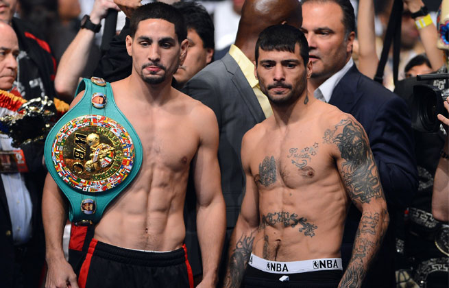Lucas Matthysse (right) will face Danny Garcia on Saturday night.