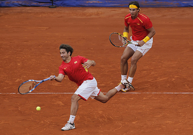 Rafael Nadal (right) and Marc Lopez were victorious in their Davis Cup doubles match against Ukraine.