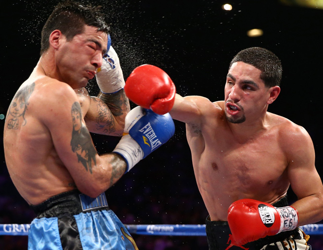 Danny Garcia (right) won a unanimous 12-round decision over Argentine challenger Lucas Matthysse.