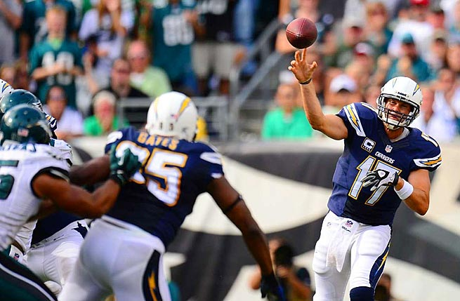 Philip Rivers threw for 419 yards and three touchdowns against the Eagles on Sunday.