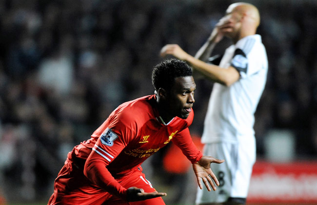 Daniel Sturridge scored Liverpool's first goal thanks to a bad mistake by Jonjo Shelvey (right).