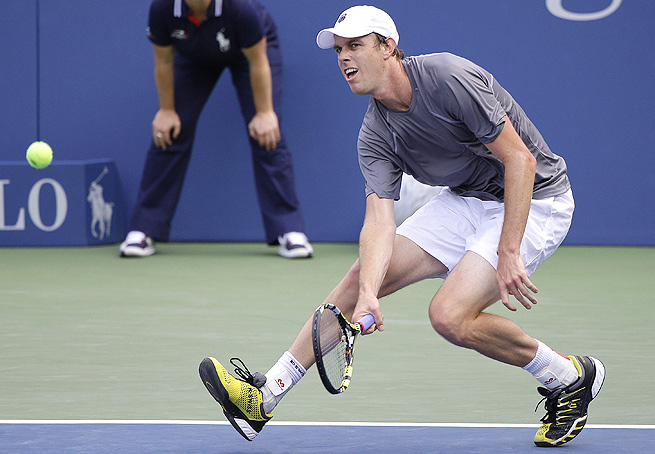 Sam Querrey rallied from a set down to beat Ivo Karlovic 4-6, 7-6 (4), 6-4 in Metz.