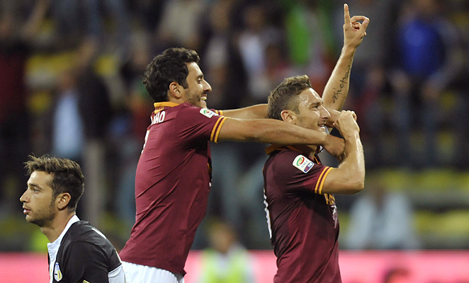 Francesco Totti scored the winning goal in Roma's 3-1 win, their third in as many games this season.