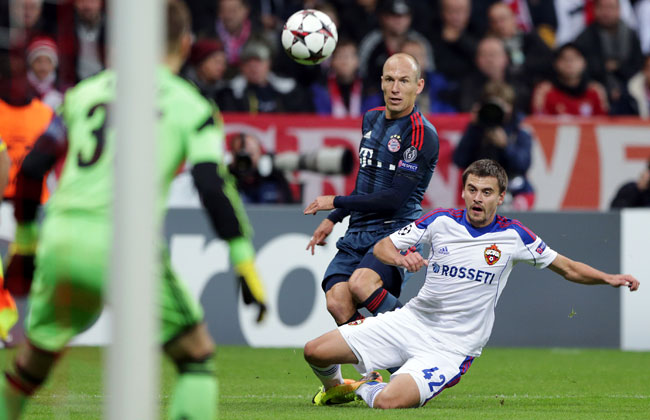 Arjen Robben scored Bayern Munich's third goal of the match.