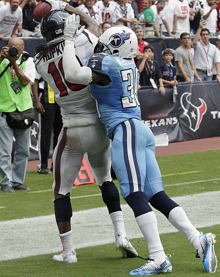 This touchdown catch and toe-tap by DeAndre Hopkins was harder than it looks here. It held upon review in overtime to give the Texans their second win of the season.