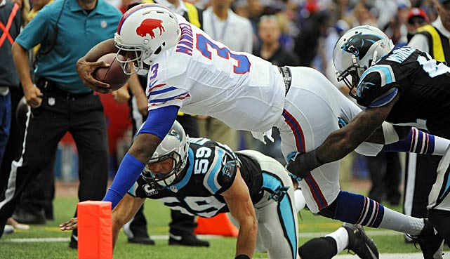 Buffalo Bills quarterback EJ Manuel didn't score on this play but did get out of bounds to stop the clock in the fourth quarter of a game the Bills won with two seconds remaining.
