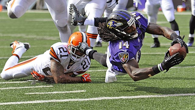 Ravens rookie receiver Marlon Brown got this ball across the plane before his body touched down in the field of play.