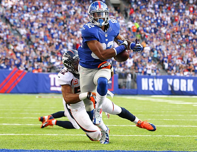 Rueben Randle was so close to the goal line that fans were already celebrating, but replays showed the Broncos forcing this fumble inches before he reached the end zone.