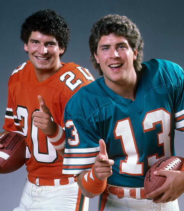 Miami heroes (and perm partners) Dan Marino and Bernie Kosar pose together for SI's 1984 football preview. Marino was about to start his second year with the Dolphins after making the Pro Bowl as a rookie. Kosar was going into his senior year after leading the Hurricanes to the 1983 national championship.