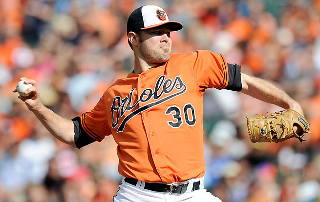 Chris Tillman's changeup grip, seen here, has helped turn him into an All-Star.