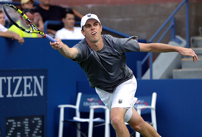 Sam Querrey moved into the quarterfinals in Metz when Paul-Henri Mathieu retired while trailing 6-2.