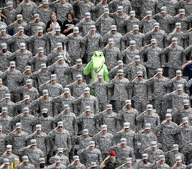 A cleverly disguised Special Forces member blends in with the cadets during Army's football game against Stanford at West Point, N.Y.