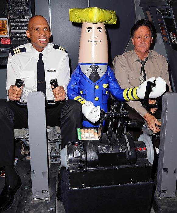 "It's always the wrong week when Roger Murdock and Ted Stryker have to rely on Otto Pilot to make a safe landing at the <italics>""Airplane!""</italics> 30th Anniversary Reunion press announcement at Air Hollywood Studio in Pacoima, Cal."
