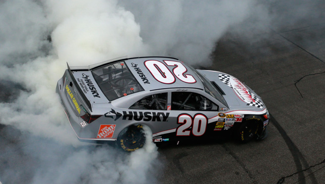 Matt Kenseth celebrates by doing donuts after winning on Sunday.