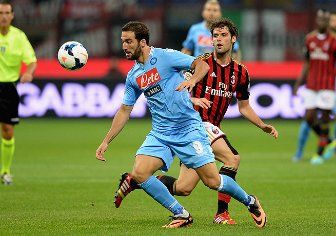 Gonzalo Higuain (left) scored Napoli's second goal against AC Milan in the 53rd minute.