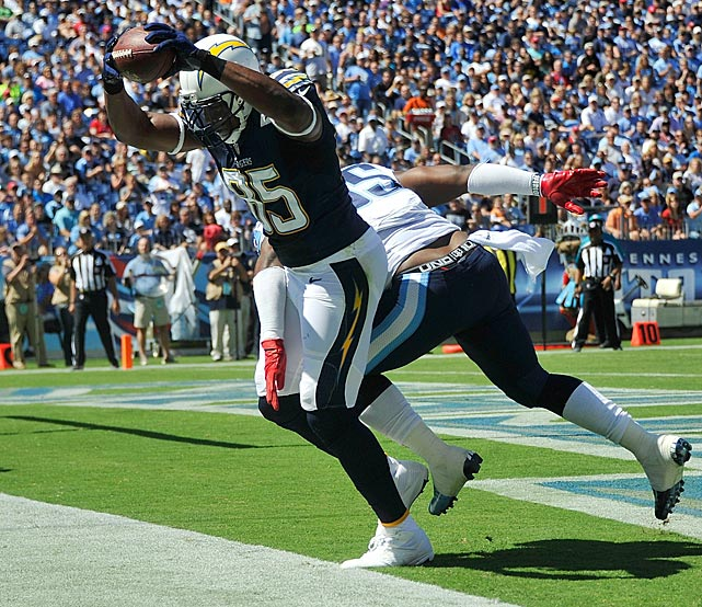 Tight end Antonio Gates got both feet down in bounds on this touchdown against the Tennessee Titans.