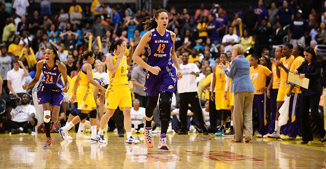 Brittney Griner celebrates after sinking a game-winning jumper on Monday night in L.A.