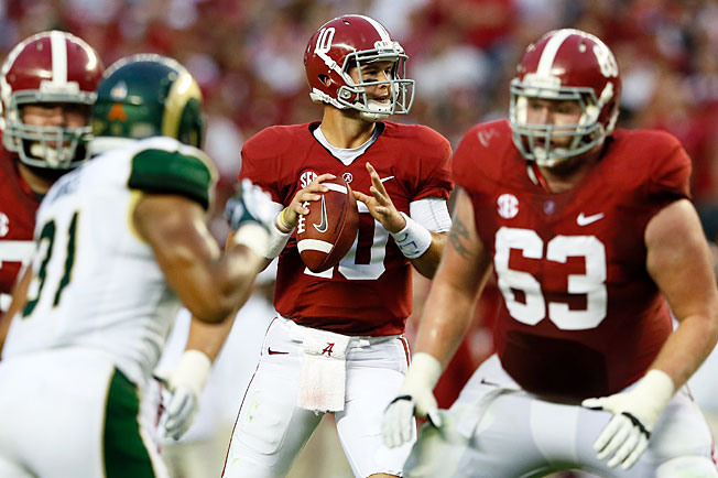 Quarterback AJ McCarron (10) and Alabama's offense struggled in stints in a win over Colorado State.