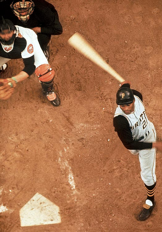 Clemente swings at a pitch in the Astrodome just one year after it opened.