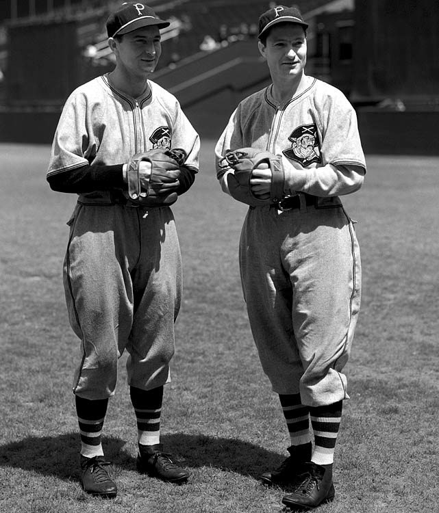 "Brother outfielders Paul ""Big Poison"" Waner and Lloyd ""Little Poison"" Waner pose for a portrait prior to a game against the New York Giants at the Polo Grounds."