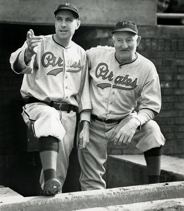 Manager Pie Traynor speaks with Pirates legend Honus Wagner before a game in Pittsburgh.