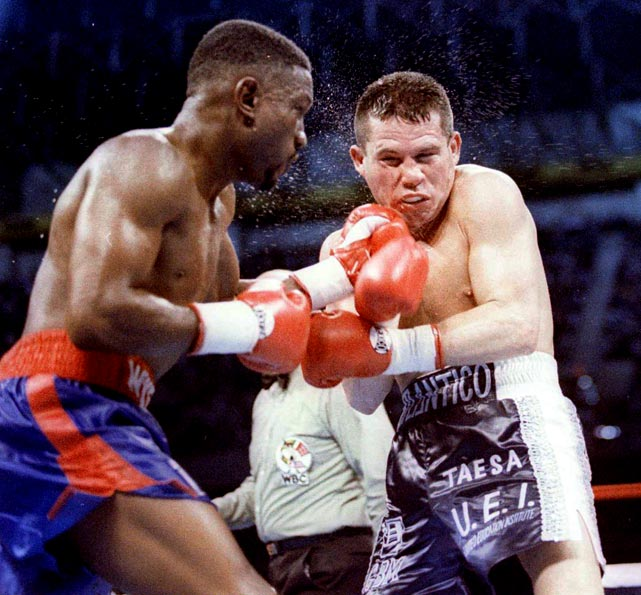 "Chávez's unblemished record finally took a hit after 87 straight victories when he challenged WBC welterweight champion Pernell ""Sweet Pea"" Whitaker in the Alamodome in San Antonio and was lucky to come away with a draw. The wizard-like Whitaker, Sports Illustrated's William Nack wrote in his report of the fight, ""put on one of the most dazzling ring performances in recent years,"" yet only one of the judges scored him the winner. The other two called it even, drawing boos from even Chávez's fans. At 31, Chávez was as tough as ever, but his reign as boxing's unquestioned best was over."