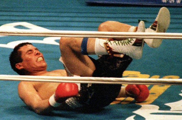 In just his third outing after his disputed draw with Pernell Whitaker, Chávez, now 89-0-1, defended his WBC 140-pound title against the relatively unheralded Frankie Randall. Chávez came into the bout?which marked the grand opening of the MGM Grand in Las Vegas?as an 18-1 favorite, but Randall took an early lead on the scorecards. Chávez roared back in the middle rounds, but in the 11th Randall caught the champion with a straight right, and Chávez went down for the first time in his career. In the end, having been penalized two points for low blows, he would suffer his first loss as well, on a split decision.