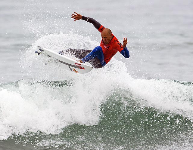 Kelly Slater surfs at the 2013 Hurley Pro. Slater finished 13th, and is ranked 2nd in the Association of Surfing Professionals' rankings.