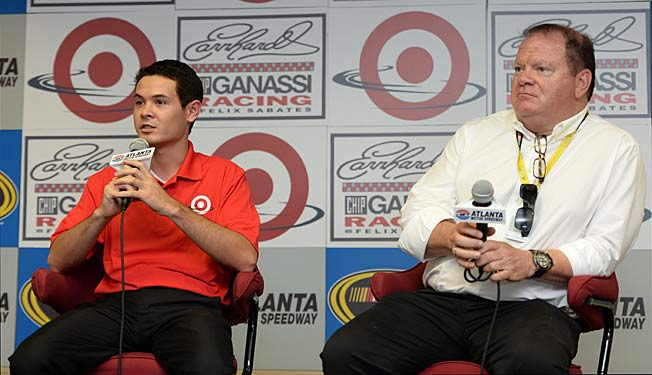 Host Chip Ganassi (right) will promote driver Kyle Larson to his Sprint Cup team next year.