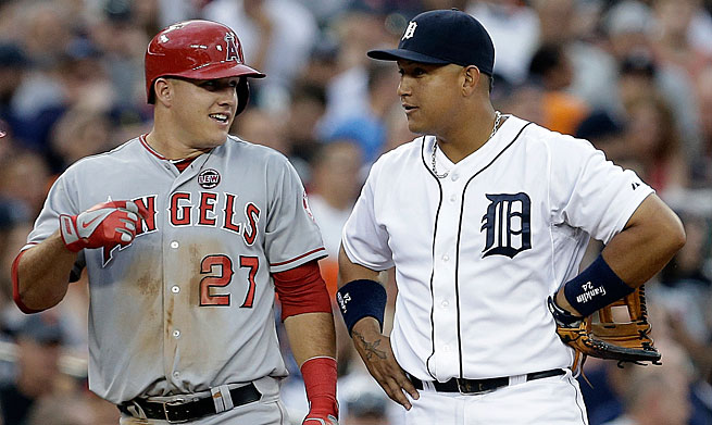 For the second straight year, the AL MVP race has come down to Mike Trout (left) and Miguel Cabrera.