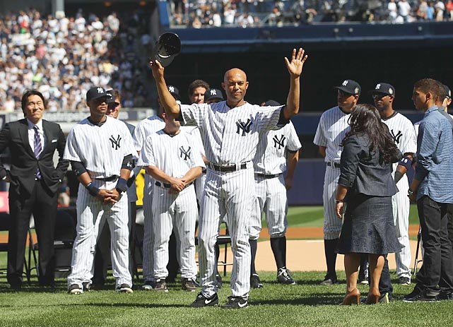 Even with their playoff hopes dwindling, the Yankees paid tribute to Rivera prior to their Sunday afternoon game against the Giants. In addition to inviting a handful of key teammates from different times in his career (David Cone, Tino Martinez, Nelson, Paul O'Neill, Bernie Williams) they brought in Jackie Robinson's widow, Rachel, and daughter, Sharon, for a special ceremony in which they retired number 42 ? Jackie's number. Forty-two had been retired throughout the majors in 1997, but players who were wearing it at the time were allowed to keep it, the last of whom in 2013 was Rivera. Metallica showed up to play Enter Sandman in person, and Rivera was given several gifts, including an electric guitar (presented by former Yankees players and current Giants coaches Roberto Kelly, Joe LeFebvre, Hensley Meulens and Dave Righetti), an amplifier (presented by Metallica) and a rocking chair. Fittingly, the also-retiring Pettitte was the starter at Yankee Stadium for the last time. He took a no-hitter into the sixth, but by the time Rivera came on with one out in the eighth, the Yankees were down 2-1 and in a jam with a man on second. Rivera got two quick outs, but could only watch as two of his teammates were thrown out at the plate in attempting to tie the game in the bottom half. Rivera pitched a scoreless ninth, but New York lost 2-1. Obviously, there were so many more memorable moments from Rivera's 19-year career, not all of which were positive. The striking thing, though, is that his lowest ones ? Sandy Alomar's home run in the 1997 ALDS, Luis Gonzalez's game-winning single in the 2001 World Series, his blown save against Boston in the 2004 ALCS, his torn ACL last year ? all came at other ballparks. Even more striking than the incredible numbers he put up in establishing his legacy as both the greatest closer of all time and (arguably) the greatest postseason performer of all time, was his resiliency. Rivera always bounced back from those stinging disappointments 