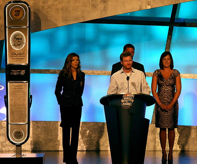 Earnhardt Jr. speaks during the Hall of Fame induction ceremony for his father in May 2010.